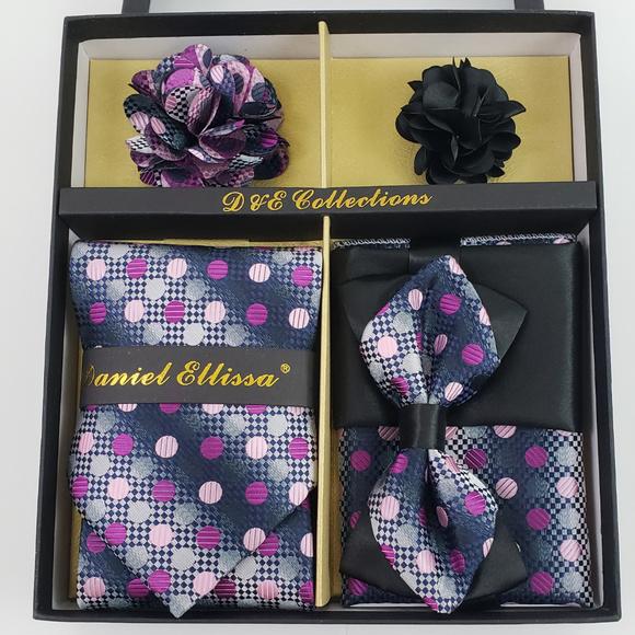 c979e071d9ba Daniel Ellissa Accessories | 6 Piece Black Purple Silver Necktie Bow ...